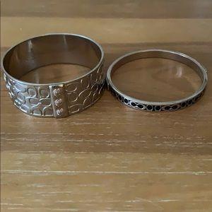 Set of 2 Coach bangle bracelets, CC logo